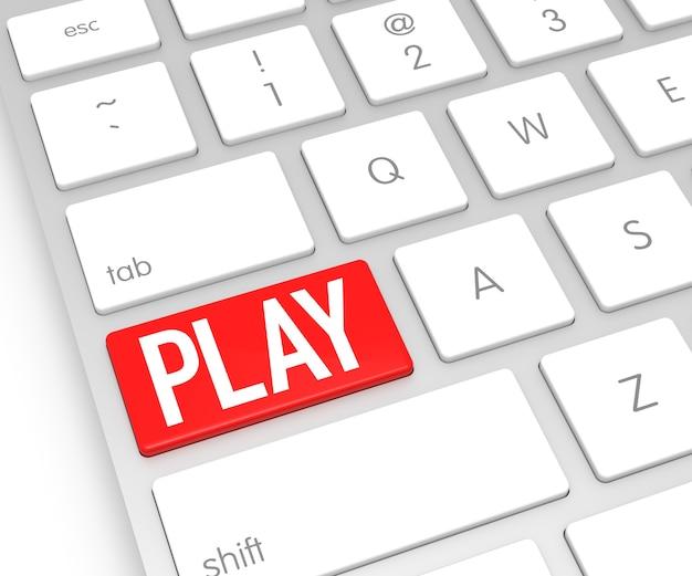 Teclado de computador com botão play. renderização 3d