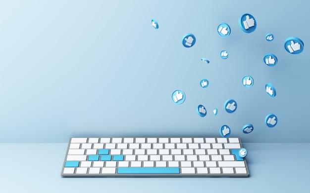 Teclado de computador com ícone de polegar para cima em fundo azul - conceito de rede social renderização em 3d