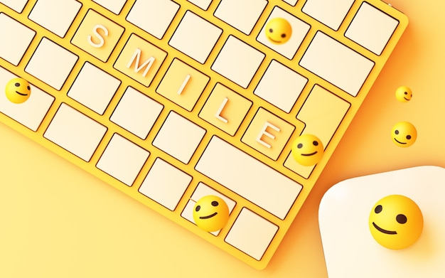 Teclado de computador com tecla de sorriso amarela e rosto de sorriso em fundo amarelo - conceito de rede social renderização em 3d