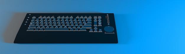 Teclado de computador preto com iluminação neon azul, ilustração 3d