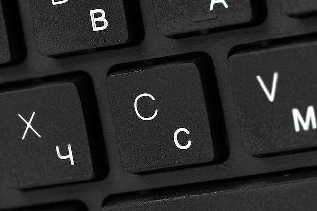 Teclado de laptop preto close-up
