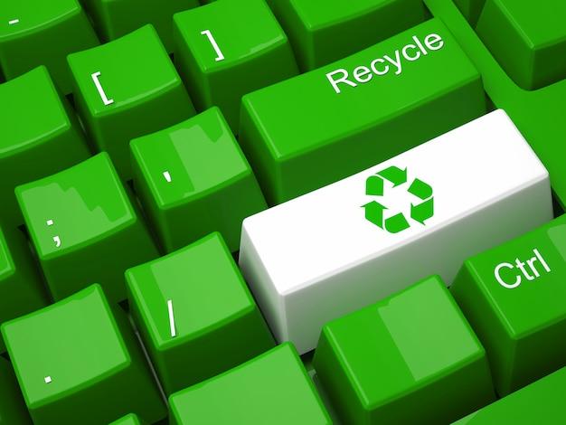 Teclado de reciclagem verde