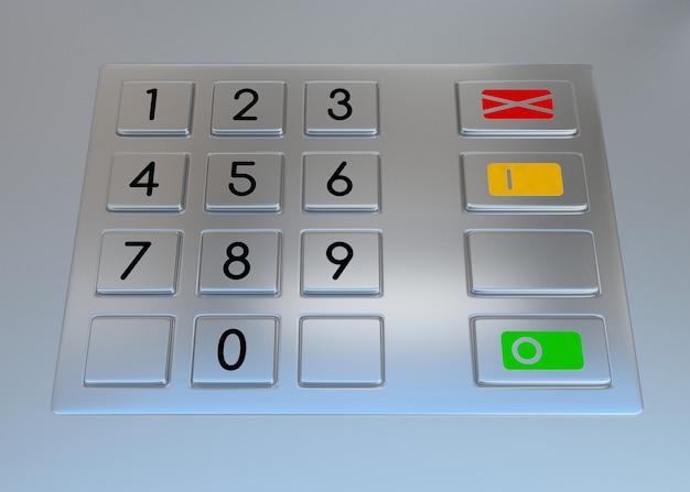Teclado do terminal da máquina atm com botões numéricos