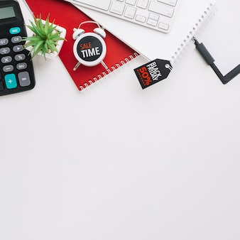 Teclado e calculadora de sexta-feira preta