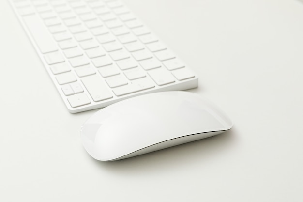 Teclado e mouse em branco