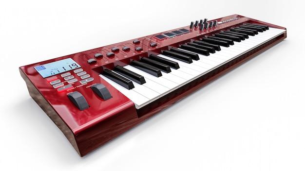 Teclado vermelho do sintetizador midi no fundo branco. close-up de chaves de sintetização. renderização 3d.