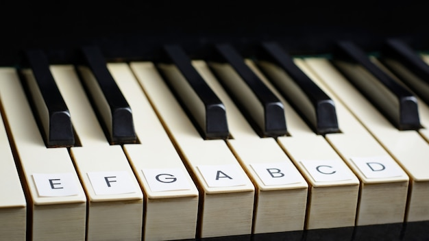Teclas assinadas de um piano velho. aprendendo a tocar piano