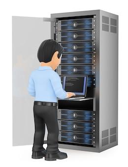 Técnico de tecnologia da informação 3d trabalhando na sala de servidores de rede em rack