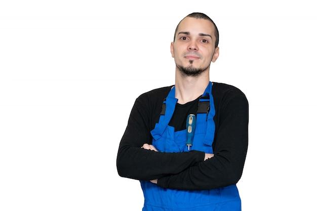 Técnico profissional de reparação, instalação e manutenção. em um terno de trabalho
