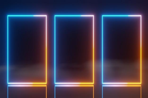 Tecnologia abstrata telas led azul laranja brilhante neon linha animação fundo neblina renderização 3d