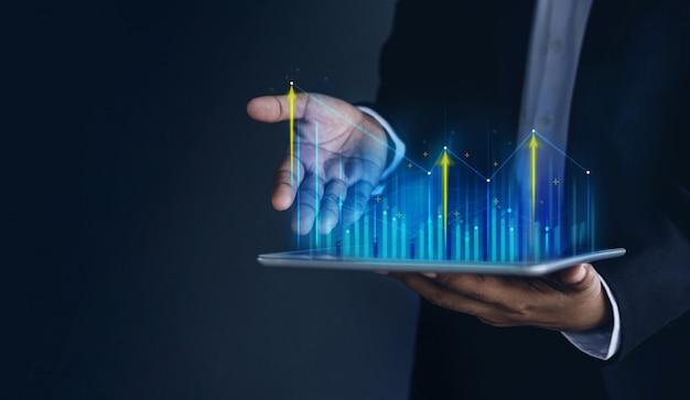 Tecnologia, alto lucro, mercado de ações, crescimento de negócios, conceito de planejamento de estratégia.
