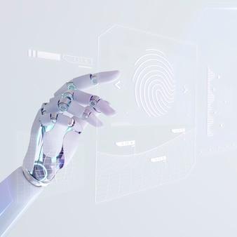 Tecnologia biométrica de ia, segurança cibernética de impressão digital