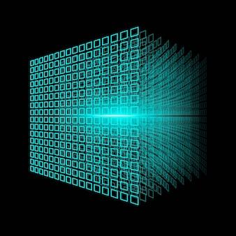 Tecnologia blockchain. cubo de big data. cubo geométrico 3d de pequenos pedaços.