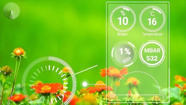 Tecnologia de agricultura digital inteligente por gerenciamento de coleta de dados de sensor futurista por inteligência artificial para controlar a qualidade do crescimento e colheita da safra. conceito de crescimento de plantação assistida por computador.