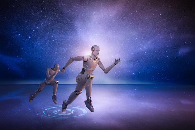 Tecnologia de alta velocidade com execução de robô de inteligência artificial