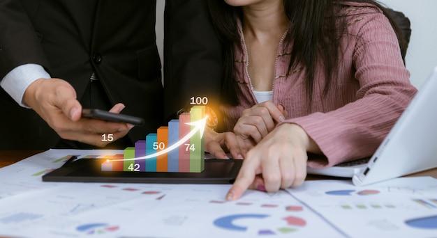 Tecnologia de análise de gráfico de trabalho comercial de lucros e objetivos de negócios no mercado de ações
