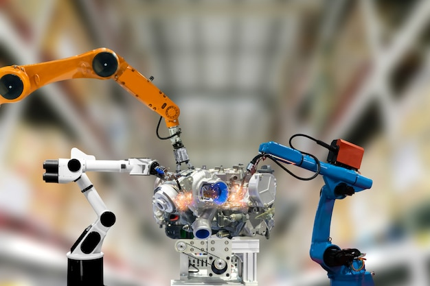 Tecnologia de braço mecânico de motor industrial robô funciona para humanos