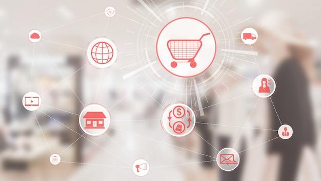 Tecnologia de canal omni do negócio de varejo on-line.