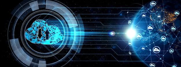 Tecnologia de computação em nuvem e armazenamento de dados online em percepção inovadora