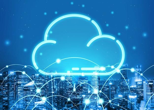 Tecnologia de computação em nuvem e armazenamento de dados online para compartilhamento global de dados