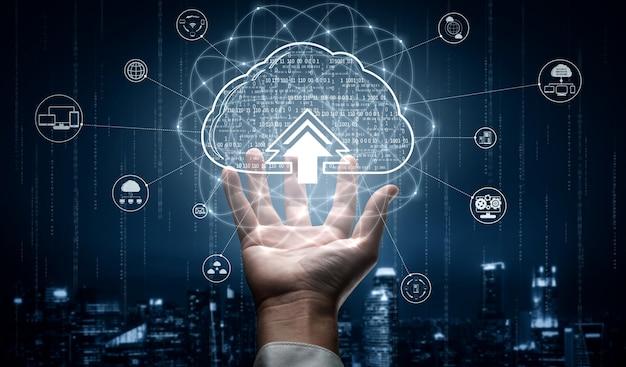 Tecnologia de computação em nuvem e armazenamento de dados online para o conceito de rede de negócios.