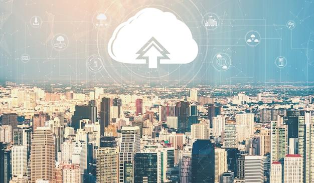 Tecnologia de computação em nuvem e armazenamento de dados online para o conceito de rede de negócios