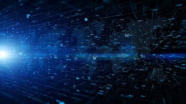 Tecnologia de conexão de rede de dados digitais e conceito de segurança cibernética