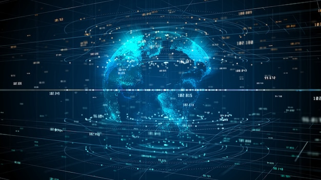 Tecnologia de conexão de rede de dados, rede digital e segurança cibernética