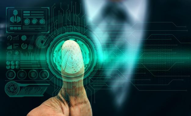 Tecnologia de digitalização biométrica de impressão digital.
