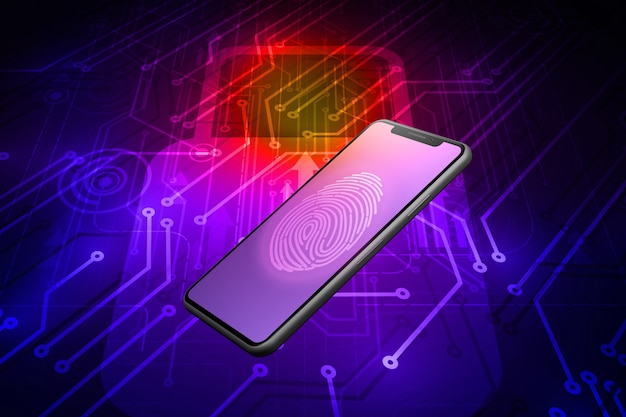 Tecnologia de digitalização de impressão digital no smartphone. impressão digital para identificar pessoal, renderização em 3d