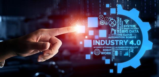 Tecnologia de engenharia e conceito de fábrica inteligente da indústria 4.0