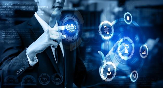 Tecnologia de engenharia e conceito de fábrica inteligente da indústria