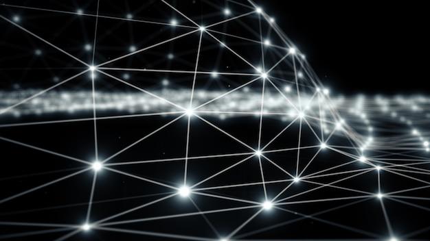Tecnologia de fantasia de plexo abstrato azul, ilustração 3d de fundo de movimento de engenharia