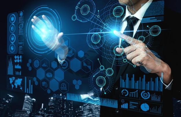 Tecnologia de grande volume de dados para o conceito de finanças de negócios.