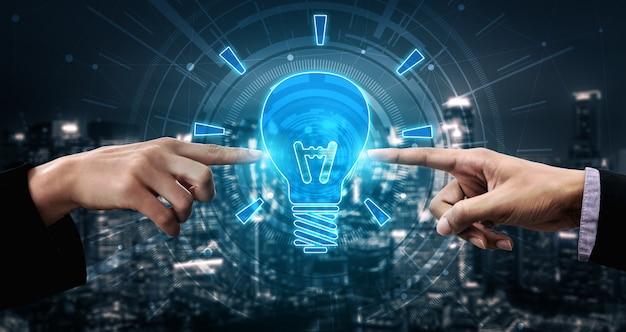 Tecnologia de inovação para o conceito de finanças empresariais. pensamento de ideias inovadoras, pesquisa.