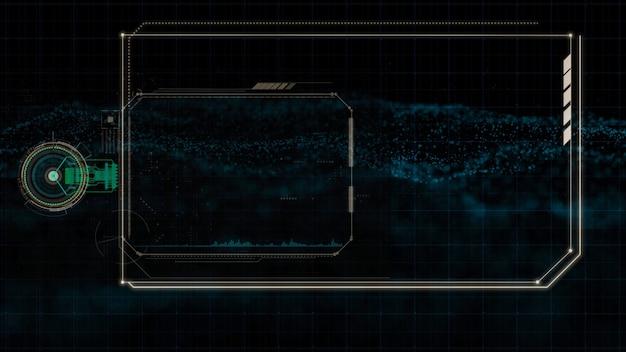 Tecnologia de interface hud, display futurístico de holograma com espaço central para texto ou conteúdo