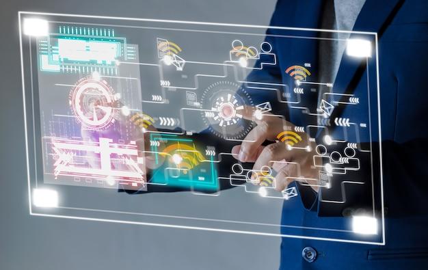 Tecnologia de internet sem fio touch screen wi-fi conceito de internet dá sinal de rede para transmitir dados