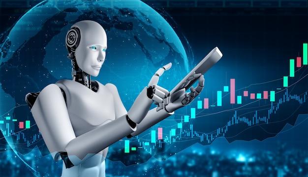 Tecnologia de investimento financeiro futuro controlada por robô ai usando aprendizado de máquina