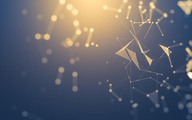 Tecnologia de moléculas com formas poligonais, conectando pontos e linhas.