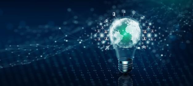 Tecnologia de negócios globais de lâmpada e comunidade de rede de pessoas. conexão de ideia e ideia para uma rede eficaz. conceito de mídia mista. fundo azul abstrato e ilustração 3d.