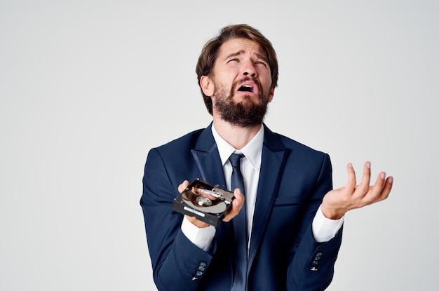 Tecnologia de perda de informações do disco rígido do homem chateado