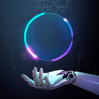 Tecnologia de quadro de robô ai, design de tecnologia futurista abstrato com espaço em branco