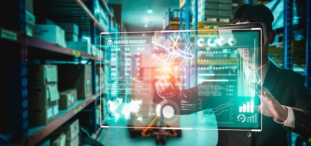 Tecnologia de realidade virtual do futuro para gerenciamento de armazém vr inovador