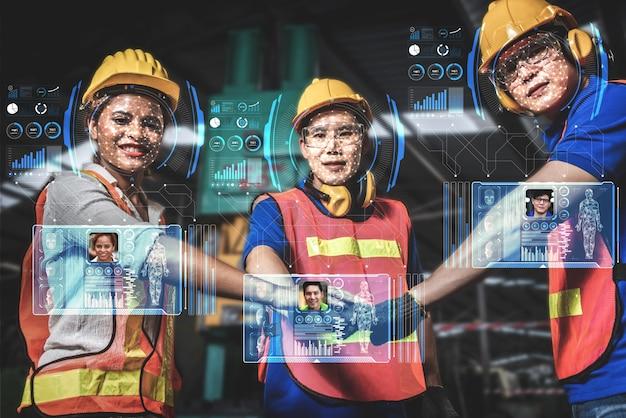 Tecnologia de reconhecimento facial para o trabalhador da indústria acessar o controle da máquina