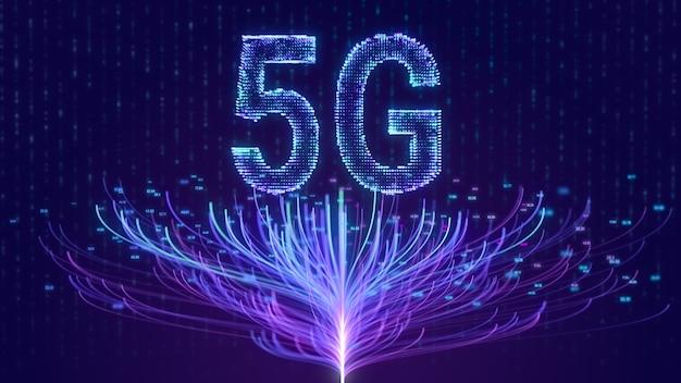 Tecnologia de rede de internet 5g com conexão de árvore de nó de big data, conceito futurista sem fio móvel abstrato