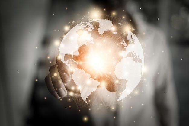 Tecnologia de rede on-line e negócios de marketing em todo o mundo