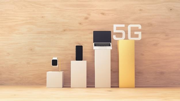 Tecnologia de rede sem fio 5g, dispositivos na barra de sinal celular