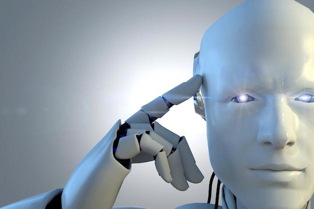 Tecnologia de robô branco que está apontando sua cabeça