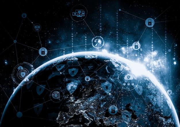 Tecnologia de segurança cibernética e proteção de dados online em percepção inovadora