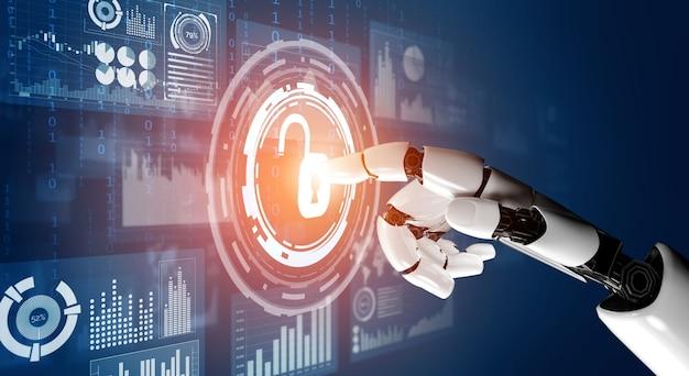 Tecnologia de segurança cibernética e proteção de dados online por robô ai